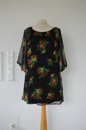 RARE LONDON seidiges Kleid mit Blumen, schwarz, hippie, boho