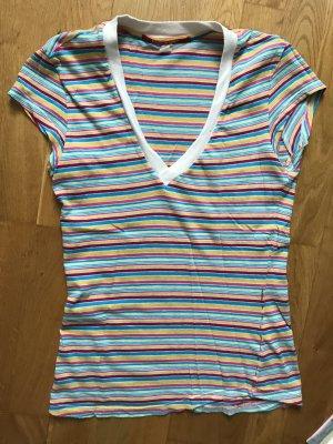 Rare Oberteil T-Shirt mit Ausschnitt Größe S 36 gestreift