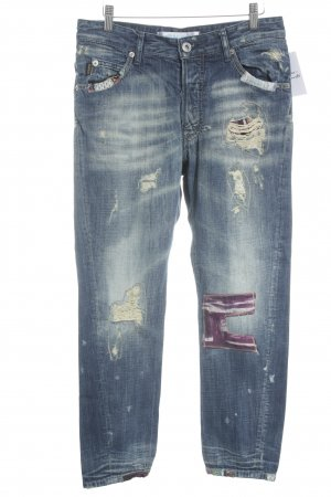 Rare Straight-Leg Jeans stahlblau Used-Optik