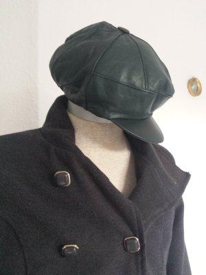 Rare Vintage Echt Lederkappe Kappe Basecap Schirmmütze  Mütze Grün