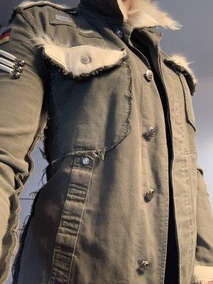 Veste militaire kaki-blanc cassé