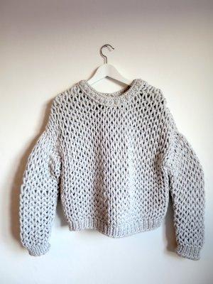 Pullover a maglia grossa grigio chiaro Cotone