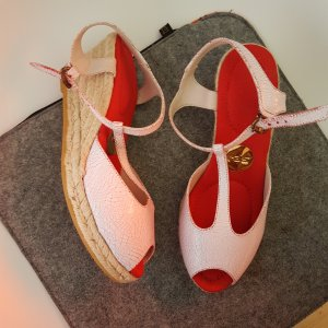 Ras Wedge Sandals white-red leather