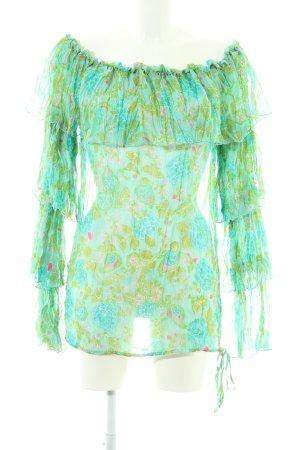 Raser Carmen-Bluse abstraktes Muster Casual-Look