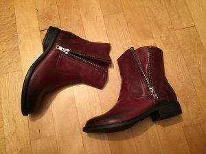 Ravalle Stiefelette Ankle Boots Bordeaux Weinrot Leder 39 Neu