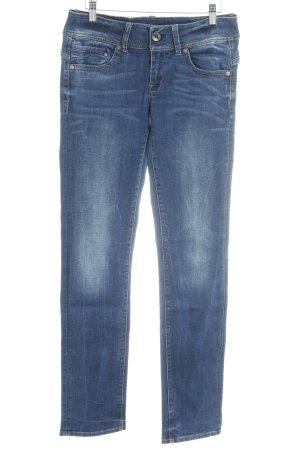Raw Denim Life Straight-Leg Jeans dunkelblau-weiß Casual-Look