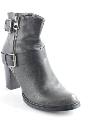 RaxMax Reißverschluss-Stiefeletten silberfarben-schwarz Street-Fashion-Look