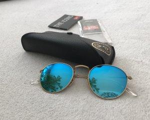 Ray Ban Occhiale da sole rotondo blu neon-oro