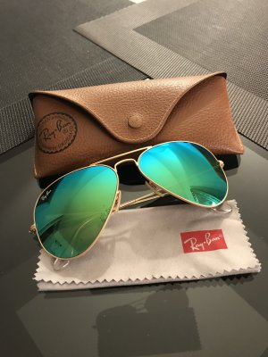 Ray Ban Aviator Glasses gold-colored-green