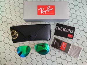 Ray Ban Aviator Glasses gold-colored-green glas