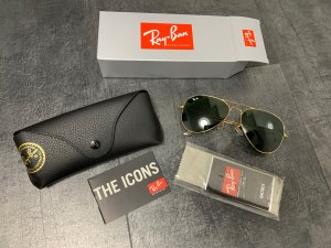 Ray Ban Gafas de piloto negro-color oro vidrio