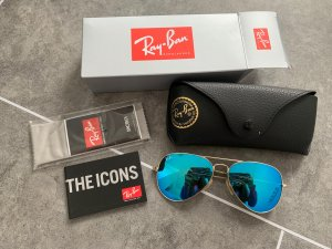 Ray Ban Aviator Glasses blue-gold-colored glas