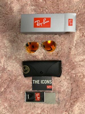 Ray ban aviator Spiegelbrille orange