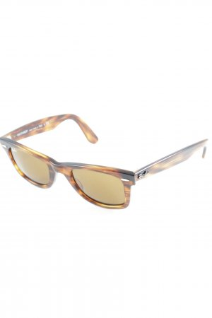 Ray Ban eckige Sonnenbrille braun-hellgelb Farbtupfermuster Casual-Look