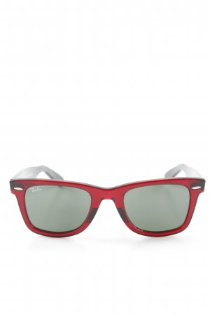 Ray Ban eckige Sonnenbrille schwarz-bordeauxrot Colourblocking Transparenz-Optik