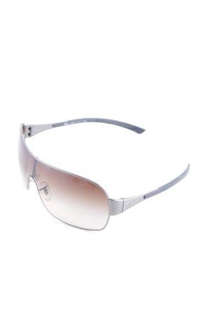 Ray Ban eckige Sonnenbrille silberfarben-schwarz Street-Fashion-Look