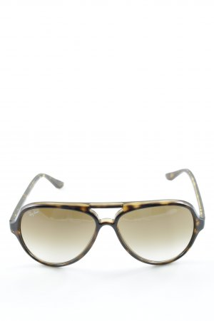 Ray Ban ovale Sonnenbrille schwarz-hellbraun abstraktes Muster Casual-Look
