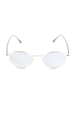 Ray Ban Lunettes de soleil ovales blanc-marron clair style décontracté