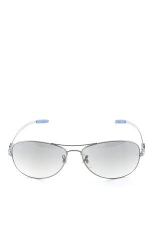 Ray Ban Pilot Brille silberfarben-stahlblau abstrakter Druck 70ies-Stil