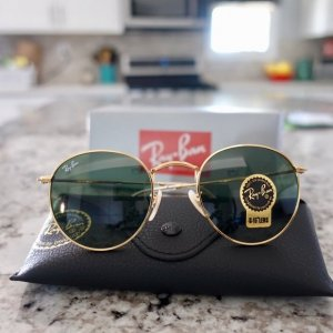 Ray Ban RB 3447 001 Round Metall Gold Sonnenbrille Original