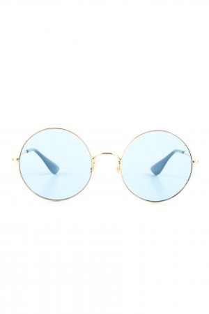 Ray Ban Round Sunglasses gold-colored-cornflower blue street-fashion look
