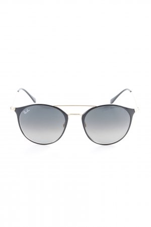 Ray Ban Occhiale da sole rotondo nero-oro stile semplice