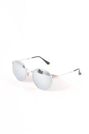 Ray Ban runde Sonnenbrille silberfarben Street-Fashion-Look