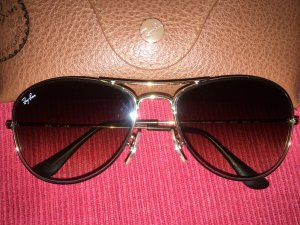 Ray Ban Sonnenbrille Aviator, Unisex, Braunglas, Gold Metal
