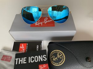 Ray Ban Aviator Glasses gold-colored-neon blue