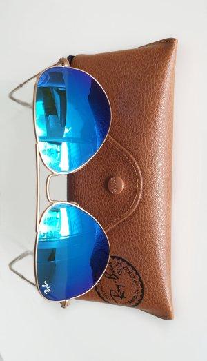 RayBan Pilotenbrille Aviator 3025 11 Gold mit bleuen Gläsern