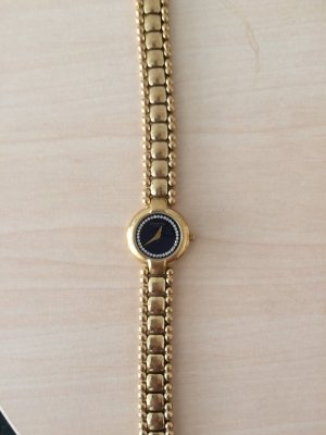 Watch With Metal Strap gold-colored-dark blue stainless steel