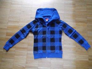 re>>ject Sweatjacke Shirtjacke Gr. 34 Royalblau Schwarz Karo wie NEU