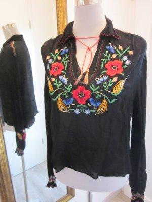Real Vintage Hippie Bluse 70 ziger schwarz mit Blumen Gr M/L