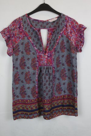 Rebecca Taylor Bluse Seidenbluse Gr. S graublau pink floral gemustert (18/3/241)