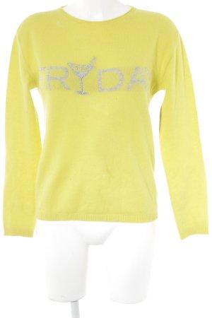 Rebel Queen Crewneck Sweater lime yellow-light grey street-fashion look