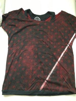 Print Shirt black-bordeaux mixture fibre