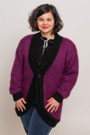Wool Jacket black-violet wool