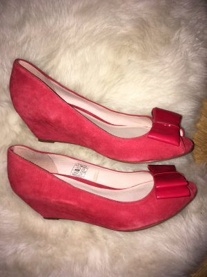 Red leather platform shoes size 38