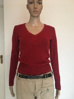 Red rot strickpullover Strick Muster S small 34 Intarsie Deep V Tommy Hilfiger Denim