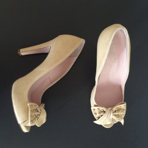 RED VALENTINO beige Peep Toes mit Schleife und goldenen Nieten - Gr. 40