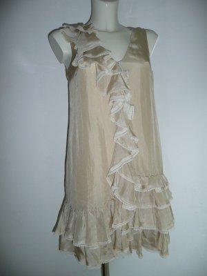 Red Valentino Tunika Kleid Seidenkleid Silk Dress mit Volants Nude Puder Gr 36