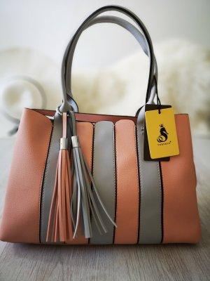 Henkeltasche NEU m. Etikett BOMMELN Streifen/Stripes Abendtasche Schultertasche Abendtasche Shopper XL Bag Nude/Grau
