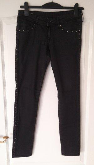 reduziert%schwarze Jeans Hose mit Nieten,Denim,H&M,super skinny,Gr.28/32