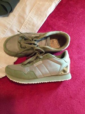 Sneaker stringata grigio-verde-ocra