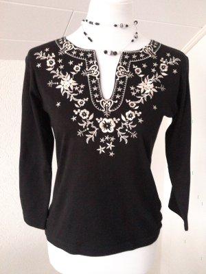 Reduziert%wunderschönes Shirt mit Stickereien,schwarz,weiß,Gr. S/36,BoyseN's
