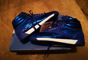 Reebok Classic Hi INT Sneaker Metallic blau Neu Mit Karton Gr.36  royal white silver