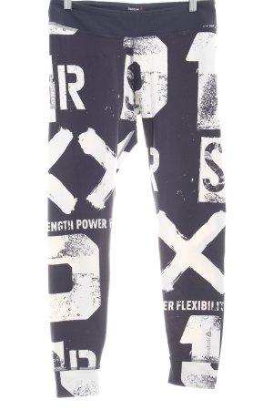 Reebok Leggings dunkelgrau-weiß Schriftzug gedruckt Casual-Look