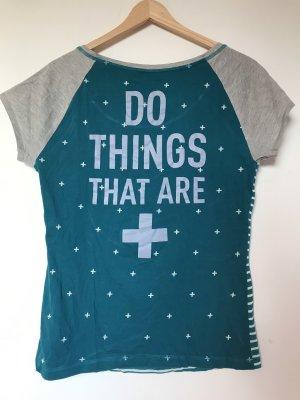 REEBOK LES MILLS T-Shirt gestreift mit Spruch auf Rücken und Reebok Zeichen vorne in Silber
