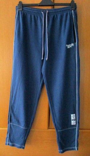 REEBOK Sporthose Damen Trainingshose  lang 100 % Baumwolle blau/ weiß dunkelblau Gr. L