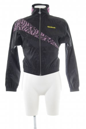 Reebok Veste de sport noir-violet imprimé avec thème style décontracté